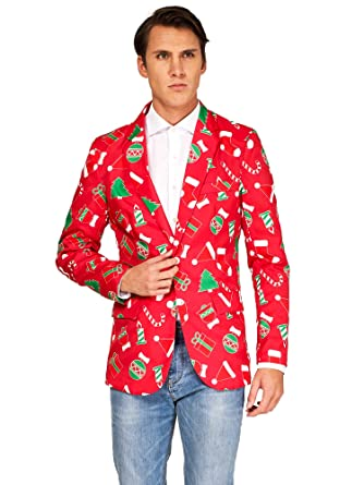 5b9daf3413f Amazon.com  OFFSTREAM Ugly Christmas Jackets for Men in Different Prints –  Xmas Sweater Blazer  Clothing