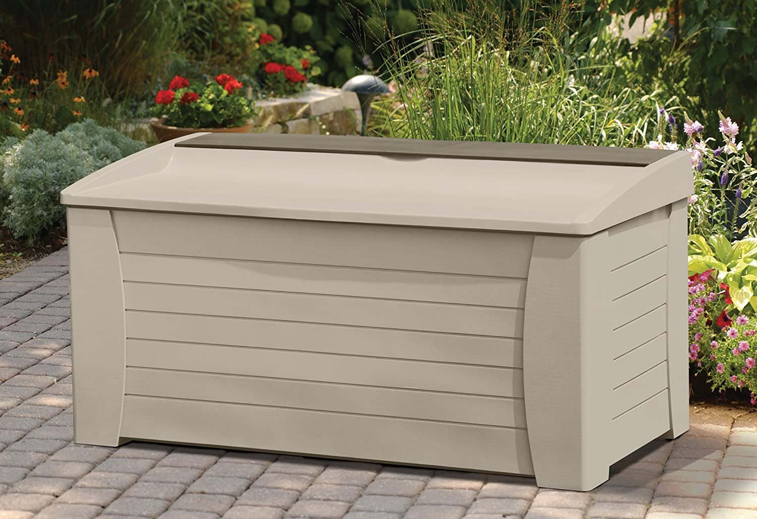 hayneedle bins suncast furniture backyard seat bench outdoor patio yard with exterior storage pool benches bin