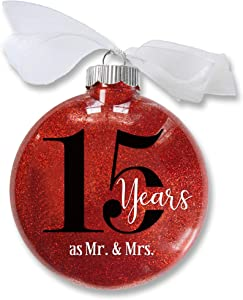 15th Wedding Anniversary Christmas Ornament, 15 Years as Mr & Mrs, Gift for Married Couple, Anniversary Keepsake, Traditional Glitter Bauble with White Organza Bow