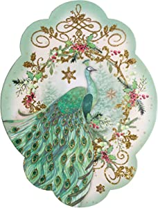 Punch Studio Frost Green Peacock Scalloped Keepsake Holiday Box 61877
