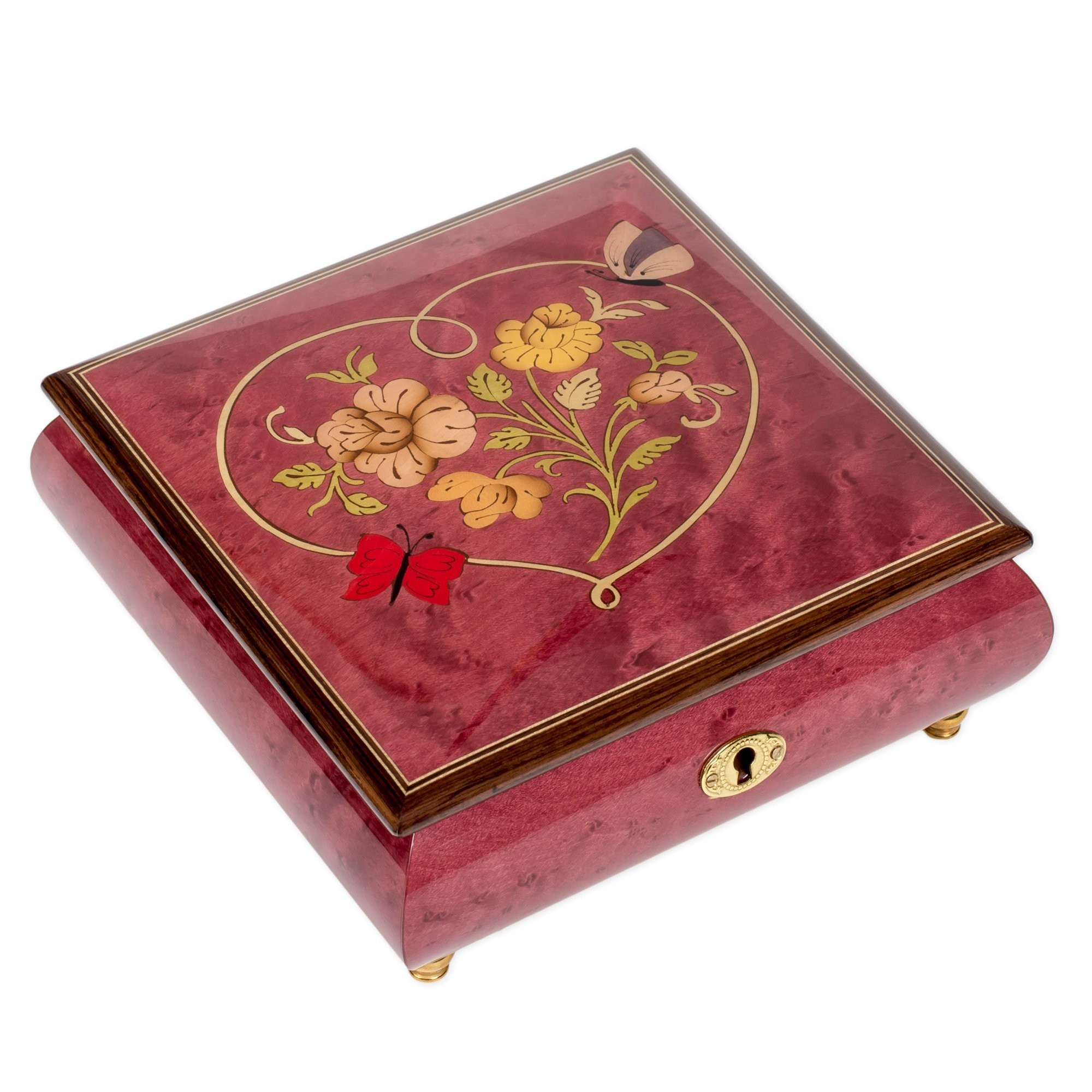 Butterfly Heart Italian Inlaid Wood Jewelry Music Box Plays Let Me Call You Sweetheart by Splendid Music Box Co.