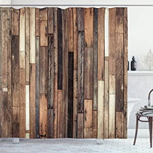 """Ambesonne Wooden Shower Curtain, Brown Old Hardwood Floor Plank Grunge Lodge Garage Loft Natural Rural Graphic Print, Cloth Fabric Bathroom Decor Set with Hooks, 70"""" Long, Brown"""