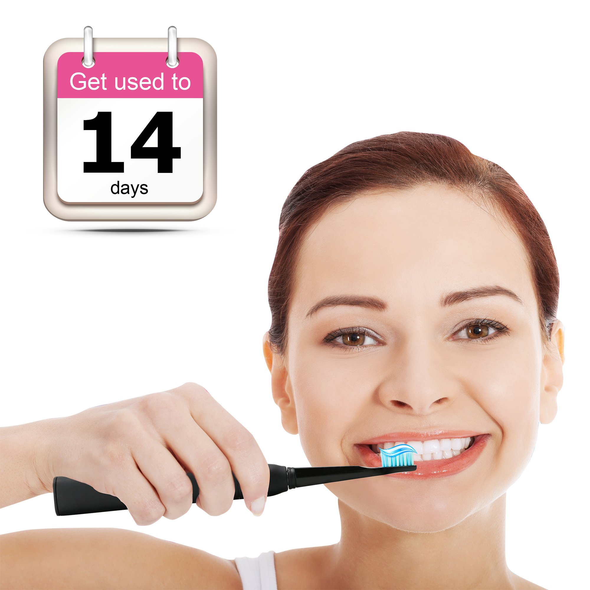Electric Toothbrush Clean as Dentist Rechargeable Sonic Toothbrush with Smart Timer 4 Hours Charge Minimum 30 Days Use 5 Optional Modes Waterproof Fully Washable 3 Replacement Heads Black by Fairywill by Fairywill (Image #7)