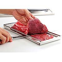 "Precision Meats Beef Jerky Slicer Kit - Superior 10"" Butchers Carving Knife & Meat Slicing Cutting Board for Safe, Mouthwatering, Uniform Slices - Adjustable Thickness - Dishwasher Safe Jerky Maker"