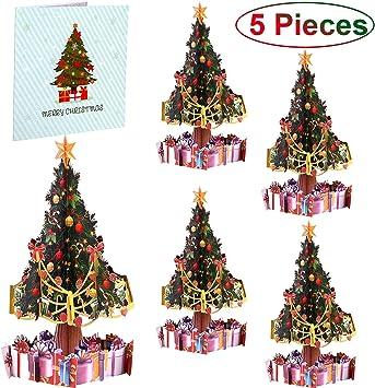Amazon.com: 5 tarjetas de felicitación de Navidad 3D con ...