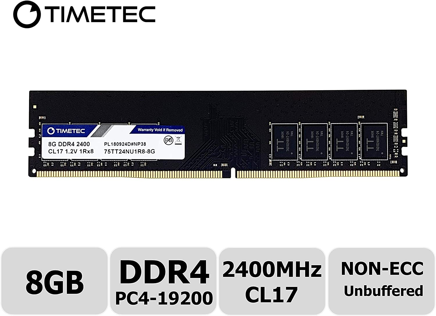 Timetec Hynix IC 8GB DDR4 2400MHz PC4-19200 Unbuffered Non-ECC 1.2V CL17 1Rx8 Single Rank 288 Pin UDIMM Desktop Memory RAM Module Upgrade (Single Rank 8GB)