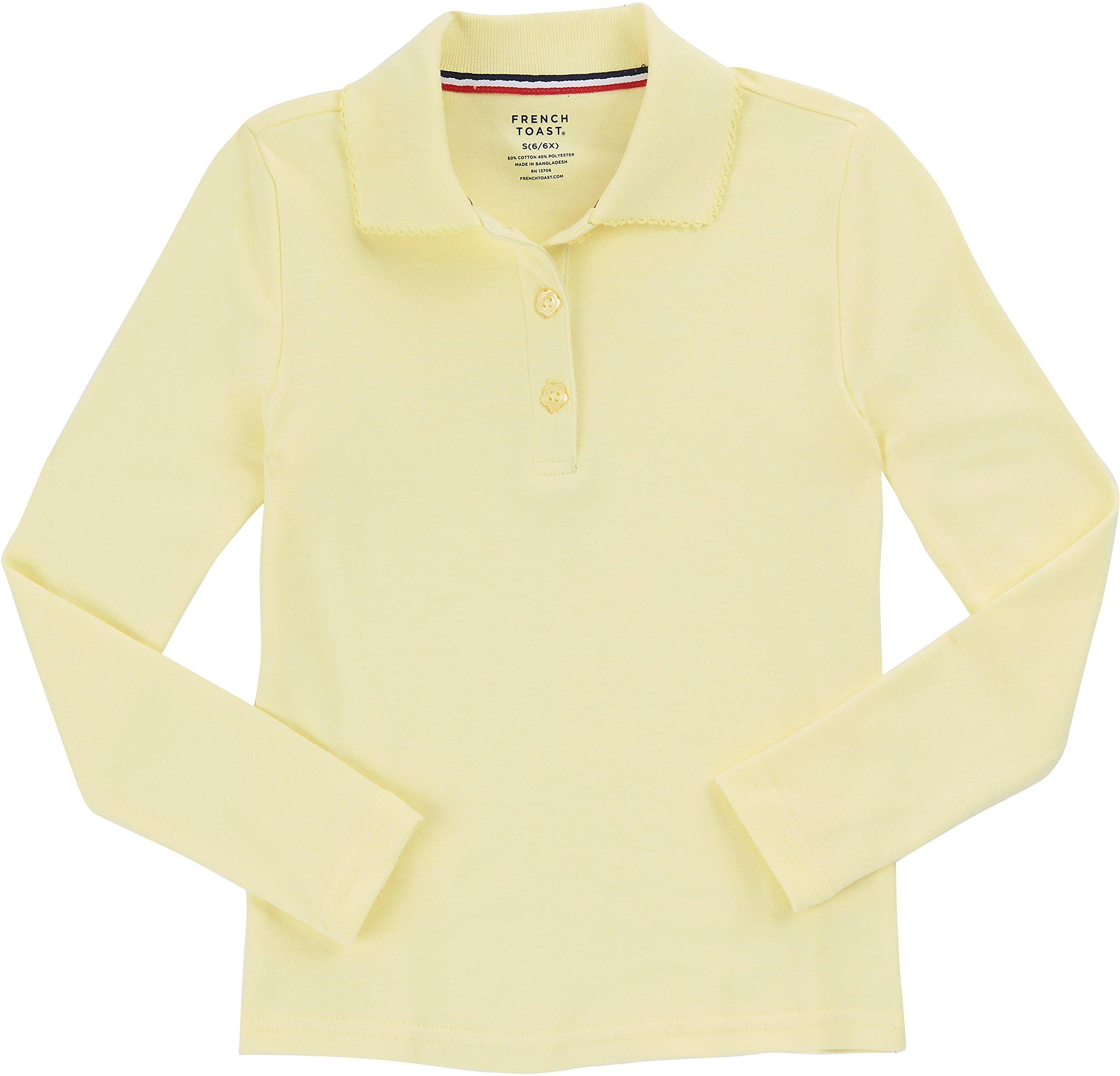 French Toast School Uniform Girls Long Sleeve Polo Interlock with Picot Collar, Yellow, XX-Large (18/20)