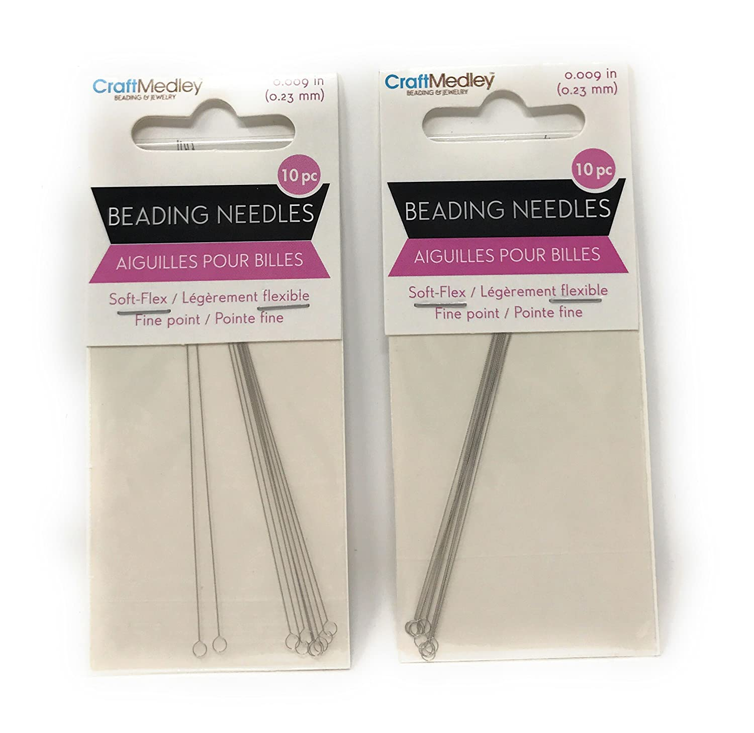 Soft-Flex Beading Needles Fine Point-.23mm 10/Pkg - 2 Packages
