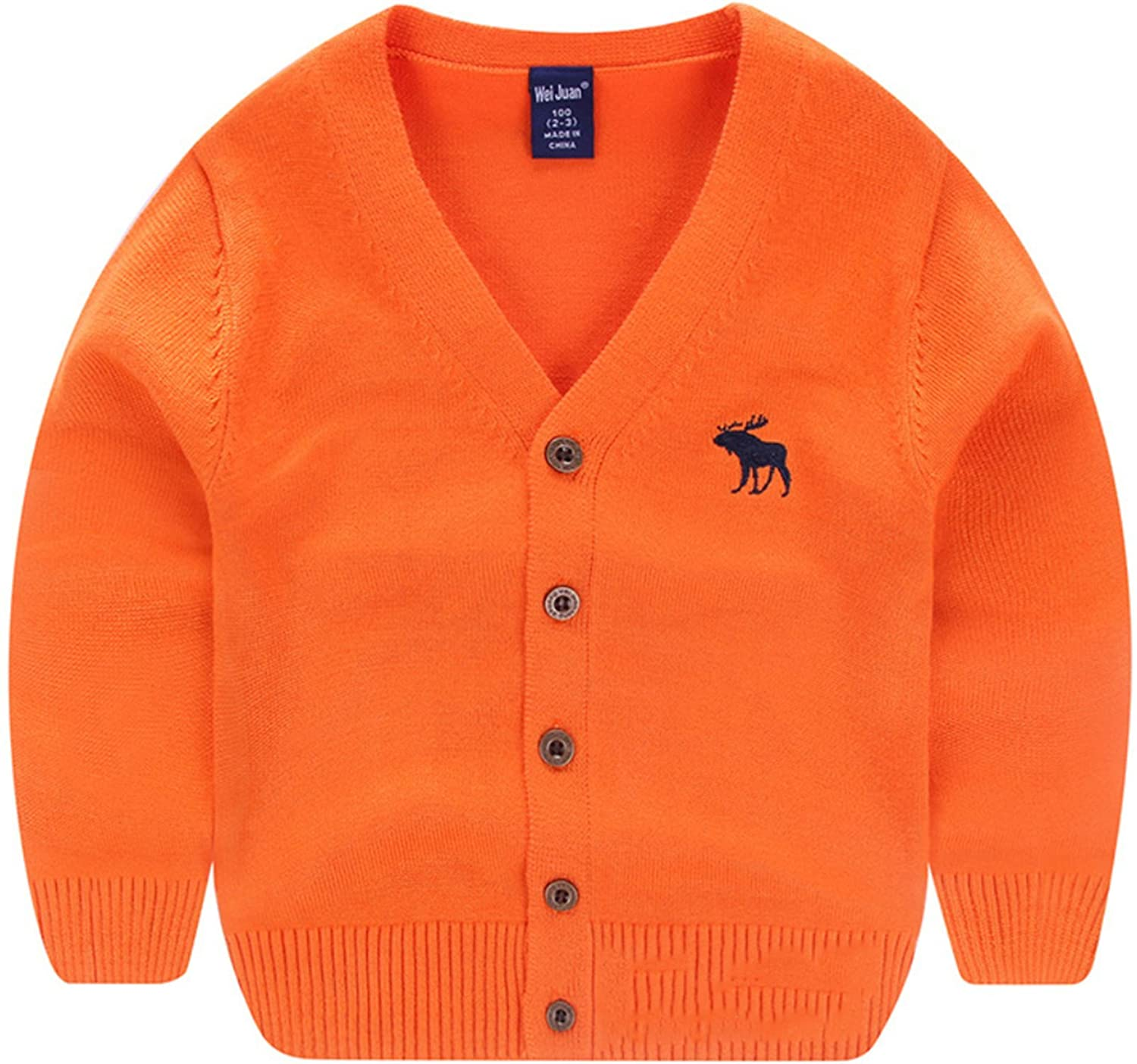 AUIE SAOSA Little Boys Spring and Autumn Solid Color Knitted Cotton Coat Cardigan V Neck Warm Sweater