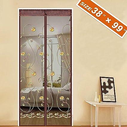 spritech embroider flower style screen doormagnetic mosquito screen mesh 38 x 99 fit doors - Patio Screen Doors