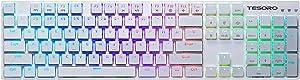 Tesoro Gram XS Red Ultra-Slim Mechanical Switch Chicklet Style Keycap RGB Backlit Illuminated Mechanical White Ultra-Low Profile Keyboard