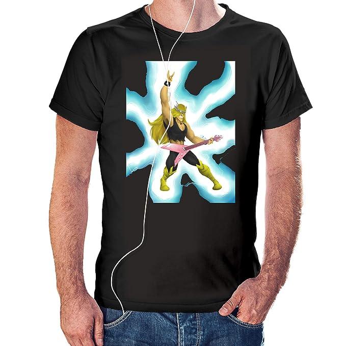 Camisaurio Camiseta Vam Hallen Guitarra Electrica - El Laboratorio de Dexter Color Negro (S)