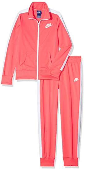 Nike G NSW TRK Suit Tricot Chándal, Niñas, Rosa Coral/White, XS
