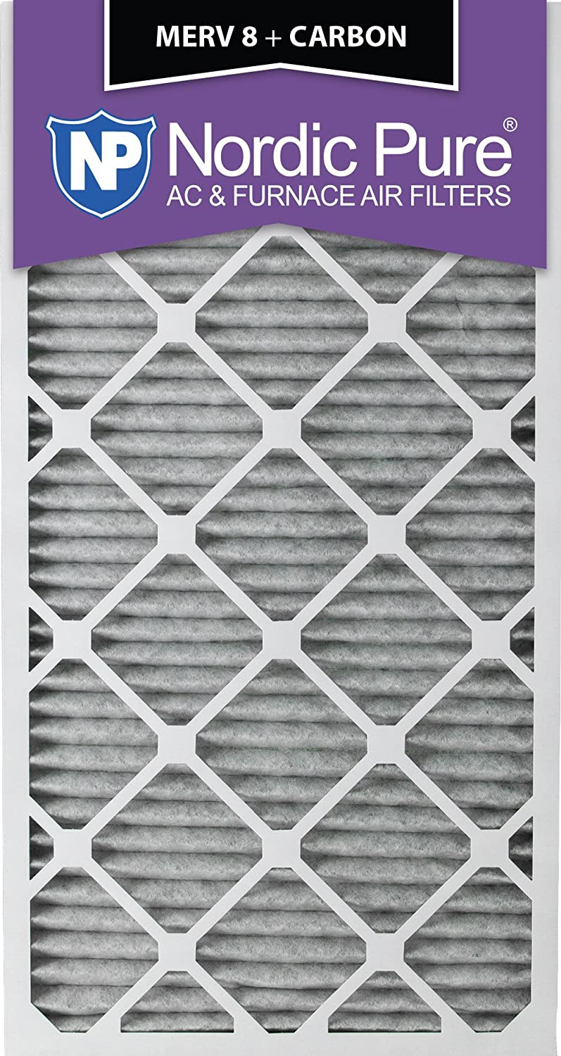 20x30x1PM8 C 6 Piece Nordic Pure 20x30x1 MERV 8 Pleated Plus Carbon AC Furnace Air Filters