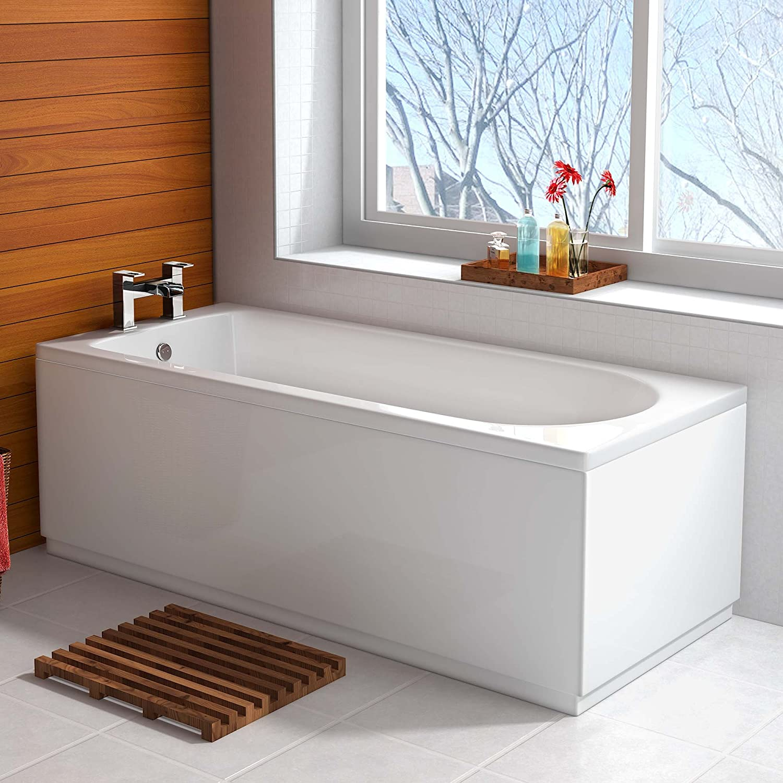 Amazon.com: 1500mm Round Single Ended Modern Straight Bath White ...