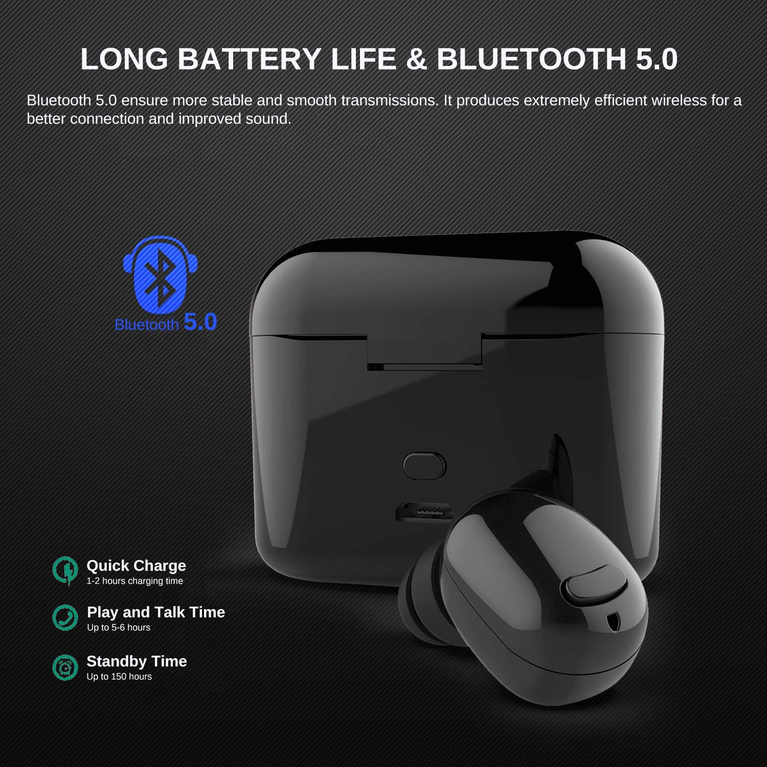 ... BT 5.0 Stereo Headphone Smallest TWS in-Ear Earphone Built-in Mic Invisible Earpieces with Portable Charging Box with Long Playing Time for Android iOS ...