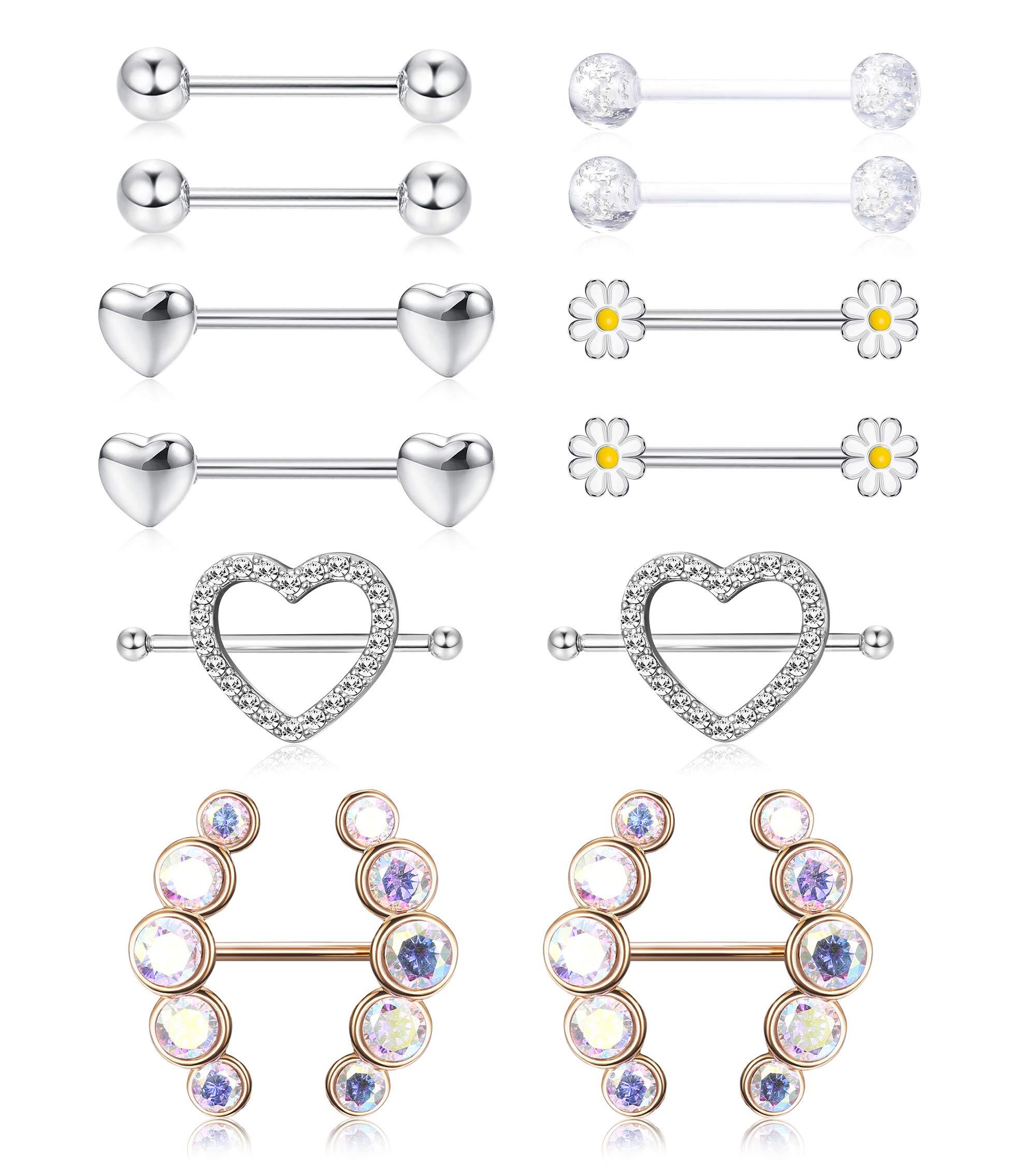 Hanpabum 6 Pairs Nipple Rings Stainless Steel Tongue Ring CZ Barbell Heart Shape Rings Body Piercing Jewelry 14G by Hanpabum