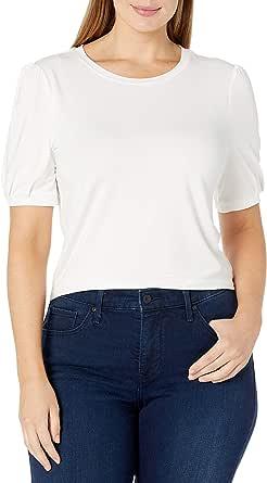 Amazon Brand - Daily Ritual Women's Rayon Spandex Wide Rib Puff Sleeve Top