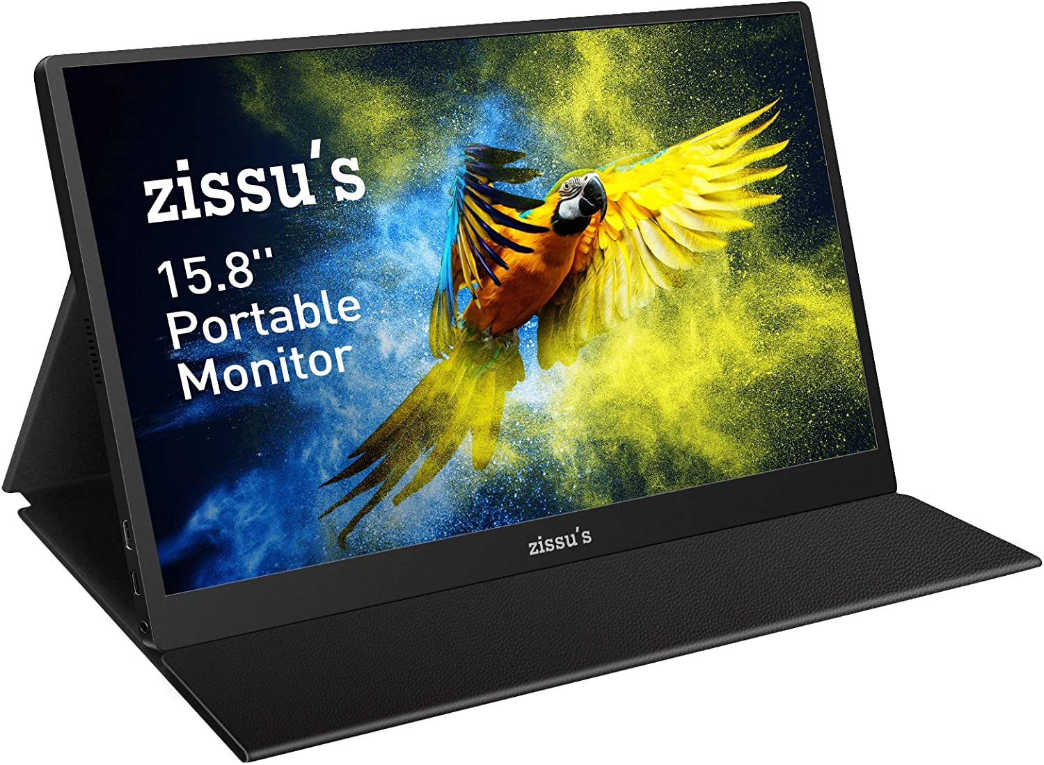 """Zissu's 15.8"""" Portable Monitor with Cover- Full HD 1080P HDR IPS Screen with 178° Full View, Lightweight & Portable Laptop Monitor with Dual USB-C Ports, Ideal for Laptop PC Switch PS4 Xbox"""