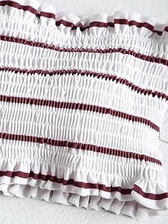 Zaful - Traje de baño a rayas de 2 piezas para mujer
