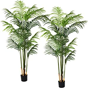 Artiflr 2Pack 5.5 Feet Artificial Areca Palm Plant Fake Palm Tree with 15 Detachable Trunks Faux Tropical Plant Tree for Indoor Outdoor Modern Decoration in Pot for Home Office Perfect Housewarming