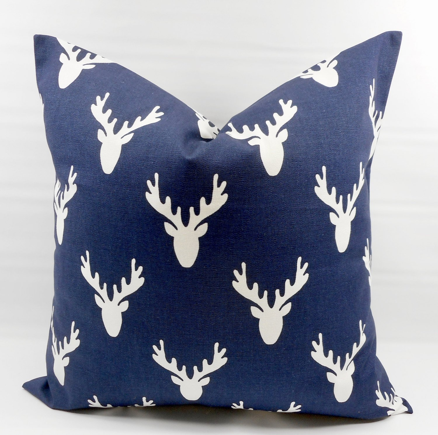 Antler Blue & white Pillow cover. Sham cover. throw Pillow cover. Select size.