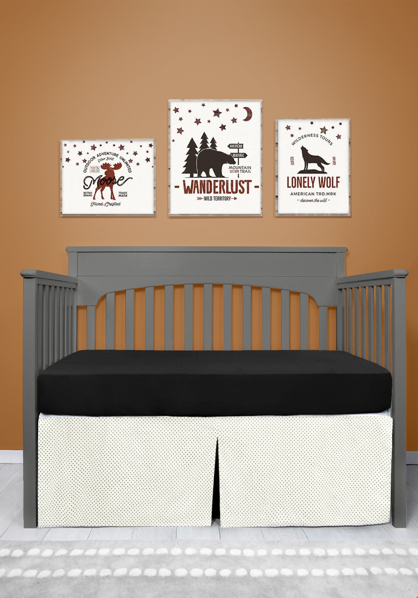Sugar Q Purified Cotton Good Quality Cot Bed Skirt for Children Off-White & Black Stars Polka Dots Pattern Pleated Easy Placing (BCS010)