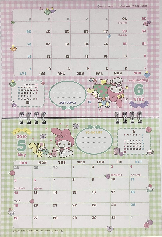 sanrio my melody desk ring japanese calendar 2019 year 12 month