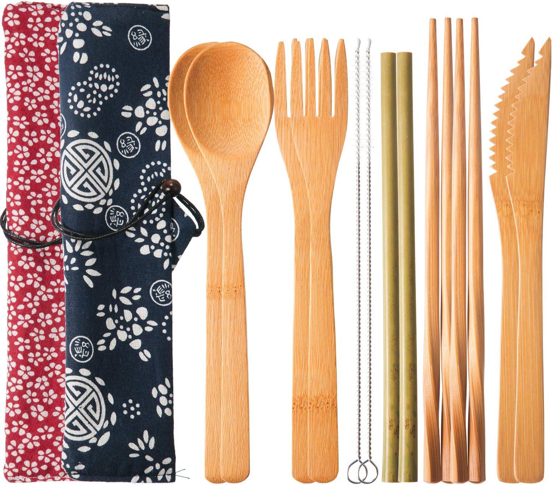 2 Juegos de Cubertería de Bambú Reutilizable Juego de Cubiertos de Viaje con Caja, Tenedores Cuchillos Palillos Cucharas Pajas y Cepillos, Juego de Utensilios de Camping (Patrón 1)