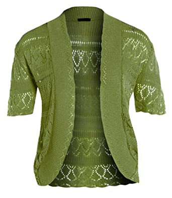 Amazon.com: New Womens Crochet Knit Cardigans fishnet Bolero ...