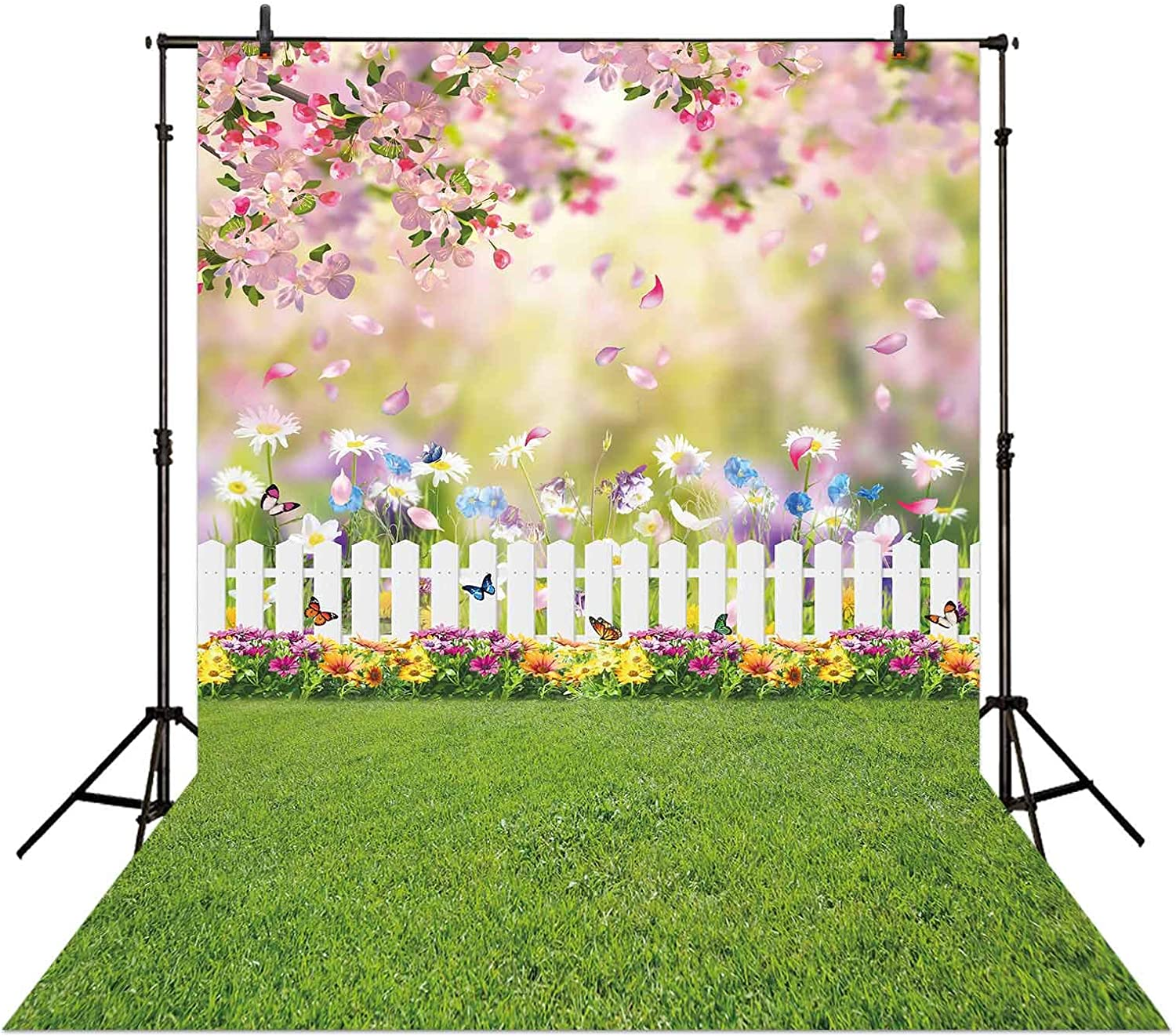 Allenjoy 5x7ft Spring Easter Garden Photography Backdrop Green Grass Lawn Pink Floral Butterfly Fence Background Baby Girl Kids Children Portrait Party Decorations Banner Photo Booth Studio Props