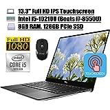 "2020 Newest Dell XPS 13 7390 Laptop 13.3"" Full HD IPS Touchscreen 10th Gen Intel Quad-Core i5-10210U (Beats i7-8550U)8GB DDR4 128GB PCIe SSD BacklitKB FP MaxxAudio Win 10 + iCarp Wireless Mouse"