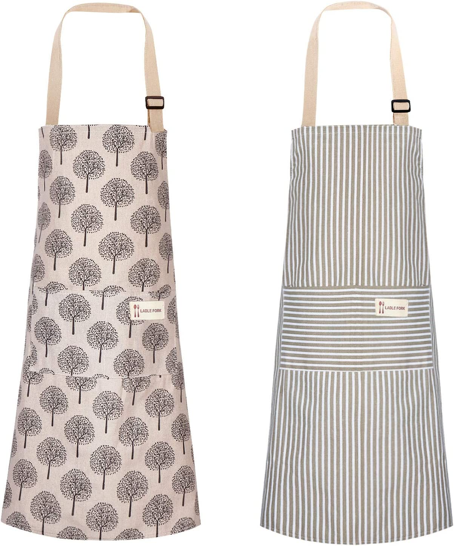 2 Piezas Delantales de Cocina Delantal de Lino Algodón Ajustable Suave con Bolsillo para Mujeres y Hombres