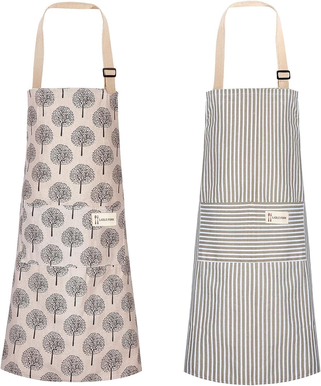2 Pieces Cotton Linen Cooking Apron Adjustable Kitchen Apron Soft Chef Apron with Pocket for Women and Men