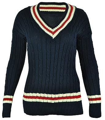 efe45c65b8bf5 Purple Hanger - Pull Femme Manches Longues Tricot Torsadé Col en V Style  Cricket Grande Taille