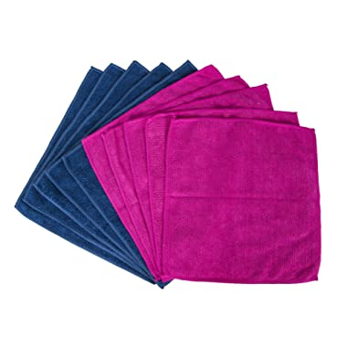 EvriHome Solid Color Microfiber Cloths 10pk, Soft Absorbent Non-Abrasive Cleaning Cloths, Lint-Free, Streak-Free, Easily Clean Without Chemicals, Assorted Colors - Fuschia/Indigo