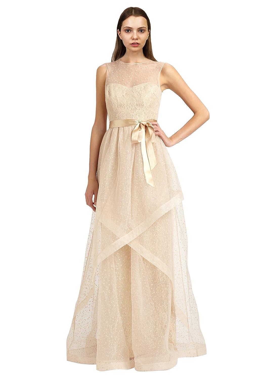 Amazon.com: Teri Jon Swiss Dot Tulle Illusion Evening Gown Dress ...