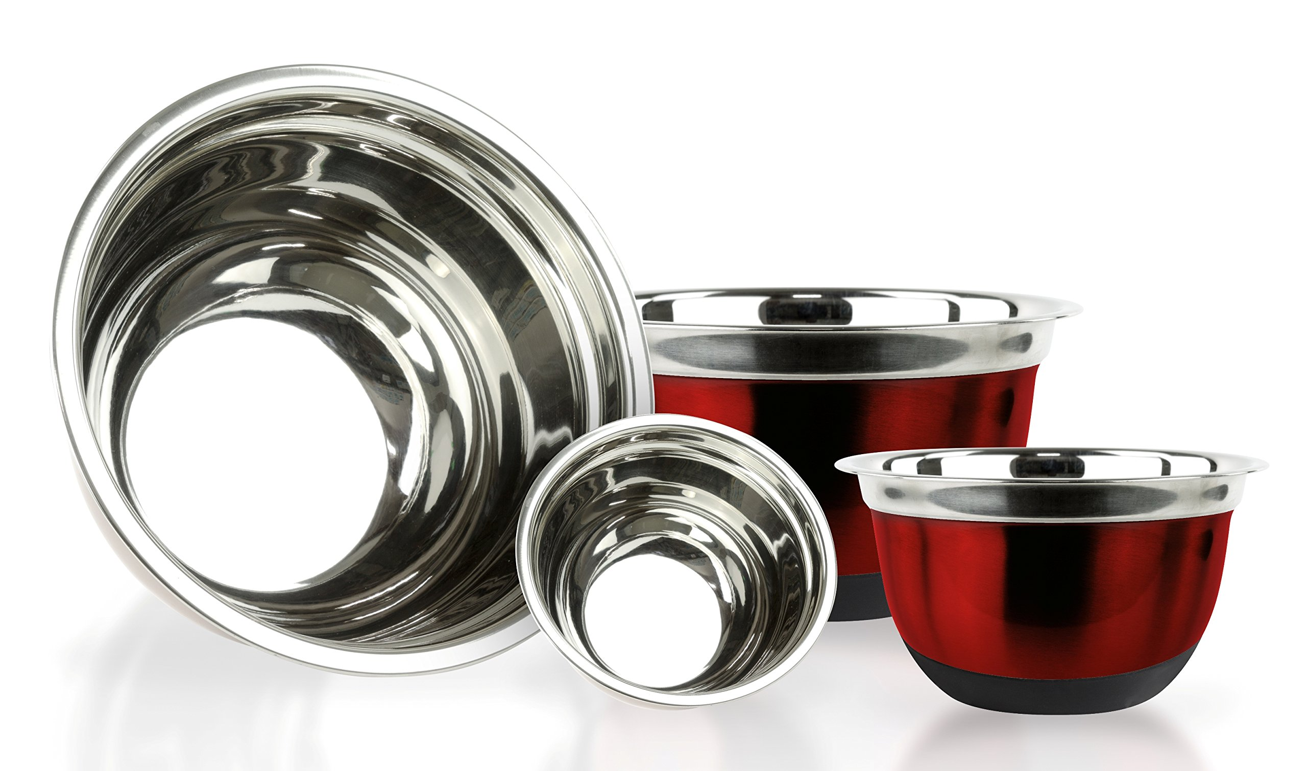 4 Pcs Stainless Steel Mixing Bowls Set - Set of 4 German Mixing Bowls Cookware Set (Red Silicone Bottoms)