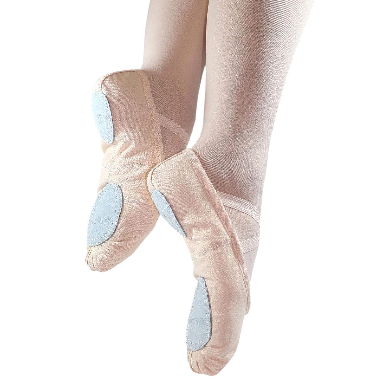 Danzcue Mujer Dividida Suela Lona Zapatillas de Ballet, Rosa, 4 M