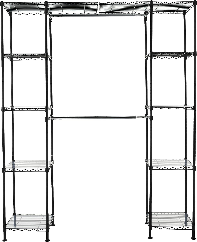 AmazonBasics Expandable Metal Hanging Storage Organizer Rack Wardrobe with Shelves