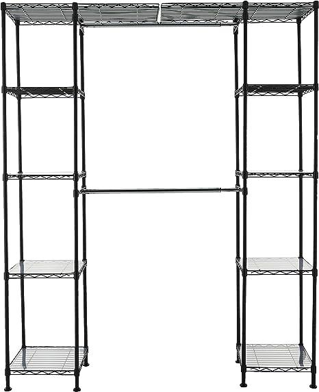"AmazonBasics Expandable Metal Hanging Storage Organizer Rack Wardrobe with Shelves, 14""-63"" x 58""-72"", Black best closet shelving system"