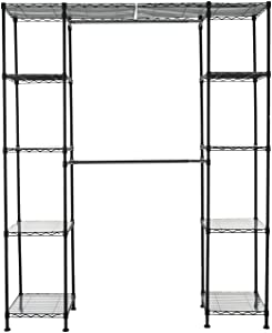 "AmazonBasics Expandable Closet Organizer - 14"" x 58"" Expands to 63"" x 72"", Black"