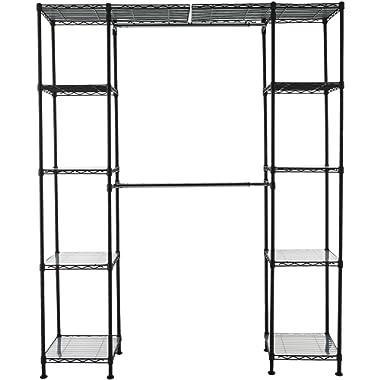 AmazonBasics Expandable Metal Hanging Storage Organizer Rack Wardrobe with Shelves, 14 -63  x 58 -72 , Black