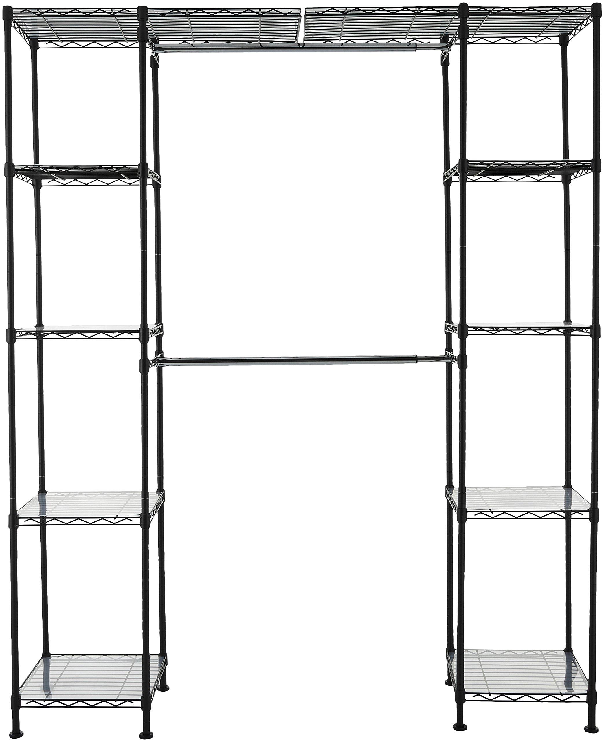 AmazonBasics Expandable Closet Organizer - 14'' x 58'' Expands to 63'' x 72'', Black