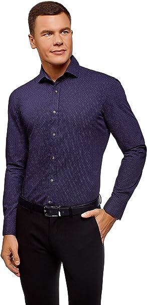 oodji Ultra Hombre Camisa Estampada Entallada: Amazon.es: Ropa y accesorios