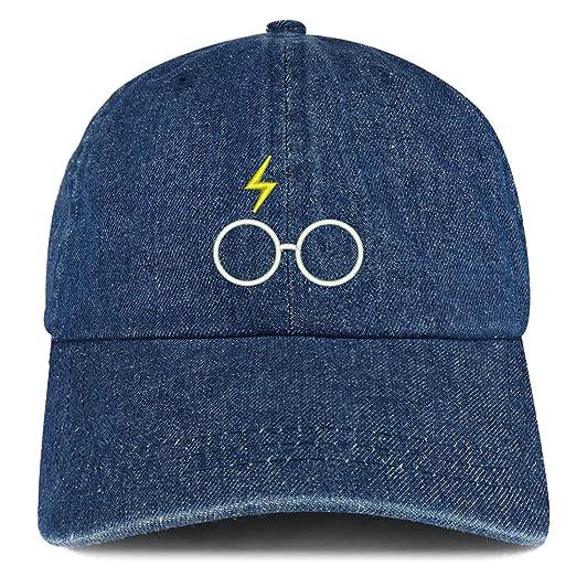 879ffb9b42d Trendy Apparel Shop Harry Glasses Embroidered 100% Cotton Denim Cap Dad Hat  - Dark Blue