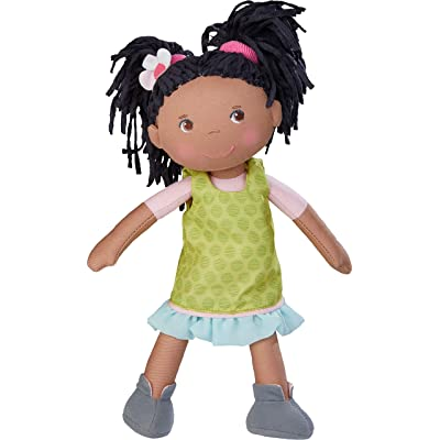 """HABA Cari 12"""" African American Soft Doll - Machine Washable with Removable Dress, Embroidered Face, Brown Eyes and Black Pigtails: Toys & Games"""