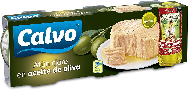 Calvo Atun Claro en Aceite de Oliva, 3 x 100g