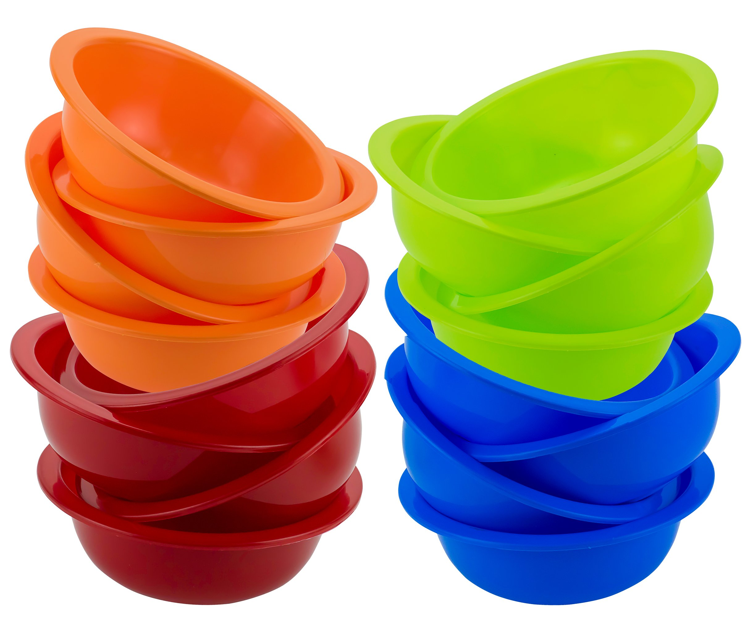 DecorRack Set of 16 Cereal Bowls, Soup Bowl for Salad, Fruit, Dessert, Snack, Small Serving and Mixing Bowls, - BPA Free - Plastic, Shatter Proof and Unbreakable, Assorted Colors, 28 oz (Set of 16)