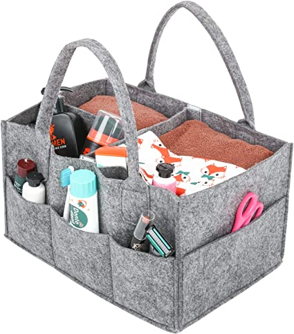 Baby Infant Diaper Organizer Caddy Nappy Changing Felt Pouch Bag Carrier Storage